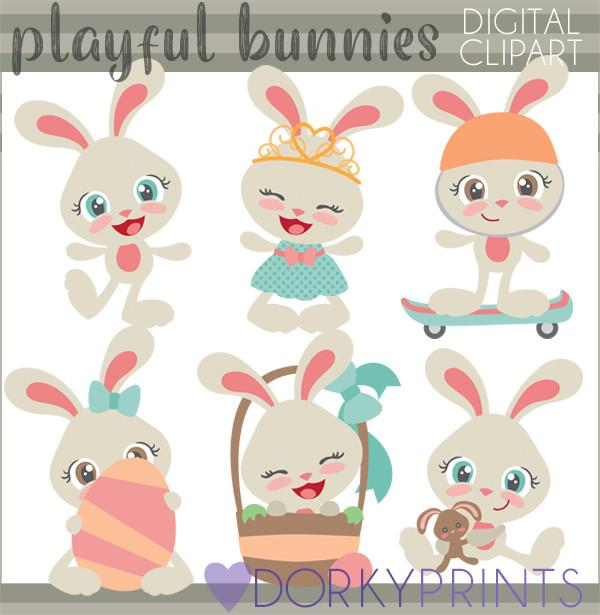 Easter Bunny Girls Spring Clipart.