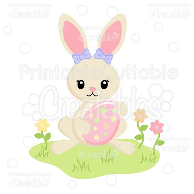 Girl Bunny Holding Easter Egg SVG Cut Files & Clipart.