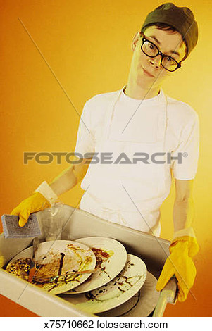 Girl Carrying Dirty Dish Clipart.