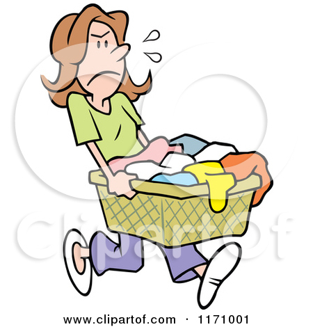Clipart of a Cartoon Girl Carrying Cleaning Supplies and Laundry.