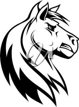 Clip Art Illustration of a Mean Horse.