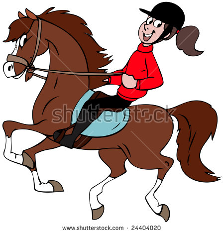 Cartoon Illustration Girl Riding Her Horse Stock Vector 24404020.