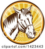 Clipart of a Cartoon Tough Angry Stallion Horse Head.