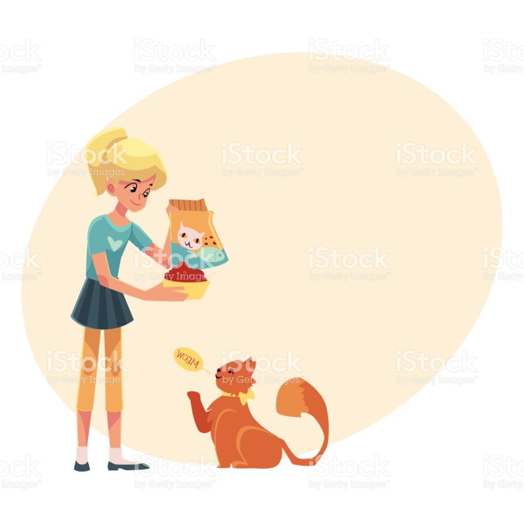 Teenage Girl Giving Food To Her Fluffy Red Cat stock vector art.