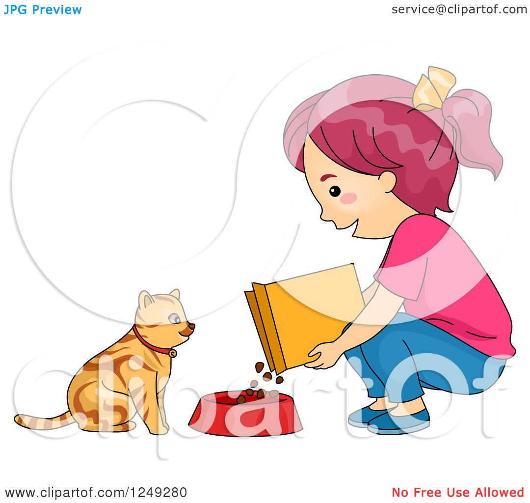 Clipart of a Girl Feeding Her Cat Dry Food.