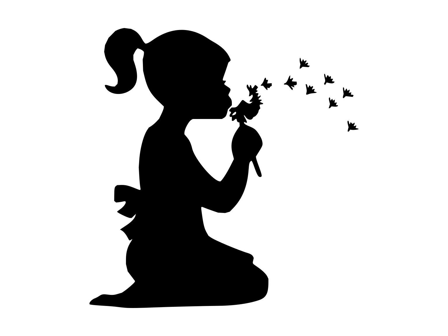 Little Girl Svg Girl Child Svg Dandelion Silhouette Cutting File Clipart  Svg Dxf Png Art Cnc Laser Cut File Tshirt Vector Clip Art.