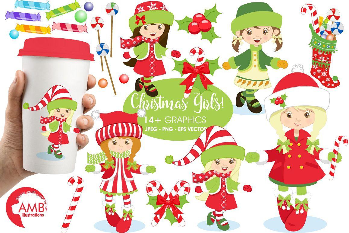 Christmas girls clipart, graphics, illustrations AMB.