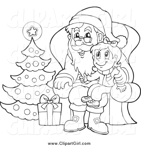 Clip Art of a Black and White Christmas Girl Sitting on Santas Lap.