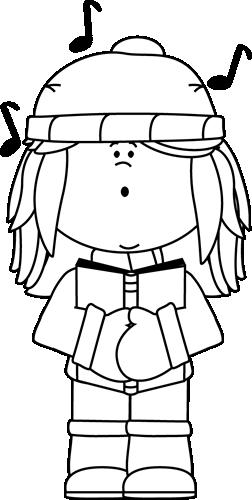 Black and White Girl Christmas Caroler Clip Art.