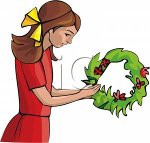 Girl Christmas Dress Clipart.