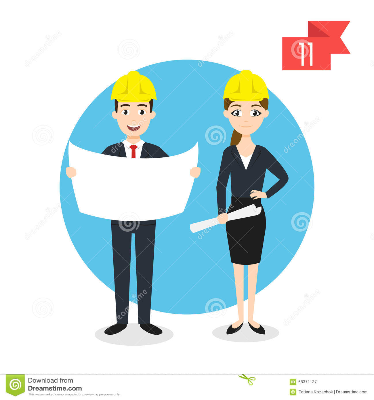 Profession Characters: Man And Woman. Engineer. Stock Vector.