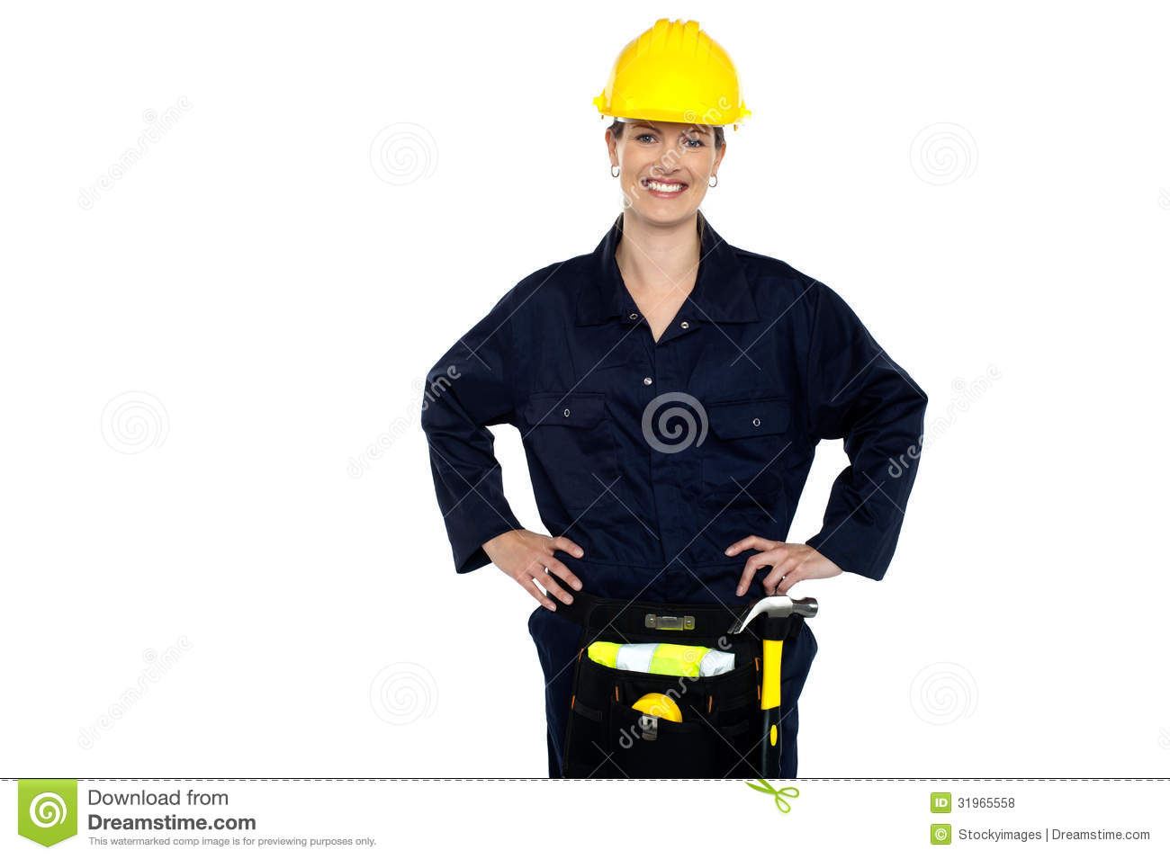 Casual Woman Construction Worker Portrait Royalty Free Stock.