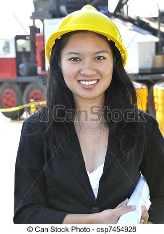 Stock Photo of Asian Woman Civil Engineer.