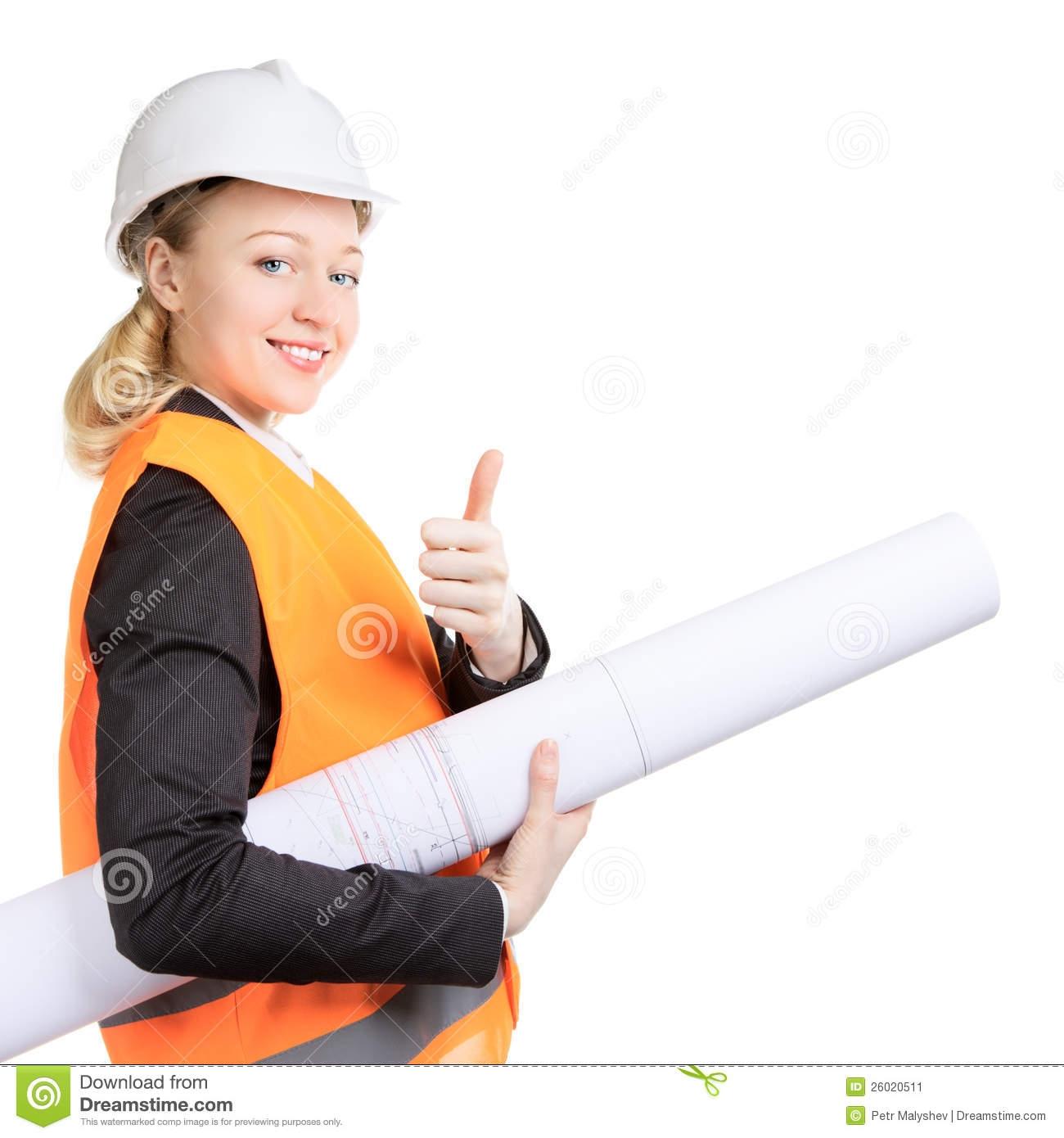 Girl Civil Engineer Clipart.