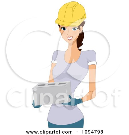 Clipart of a Cartoon White Male Construction Worker Eating a.