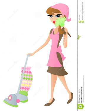 Girl Clean House Clipart.