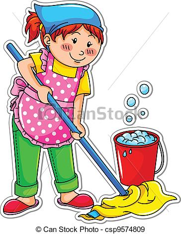 Girl Cleaning Clipart.