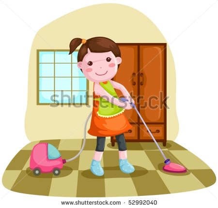Showing post & media for Cartoon girl cleaning house.