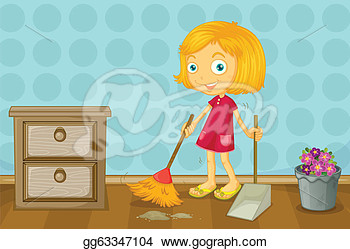 Girl Cleaing Room Room Clipart.