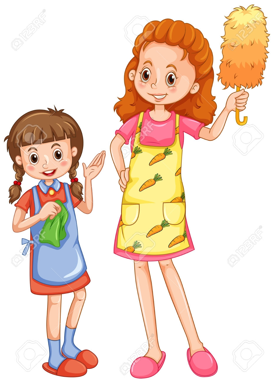 Girl Cleaning House Clipart.