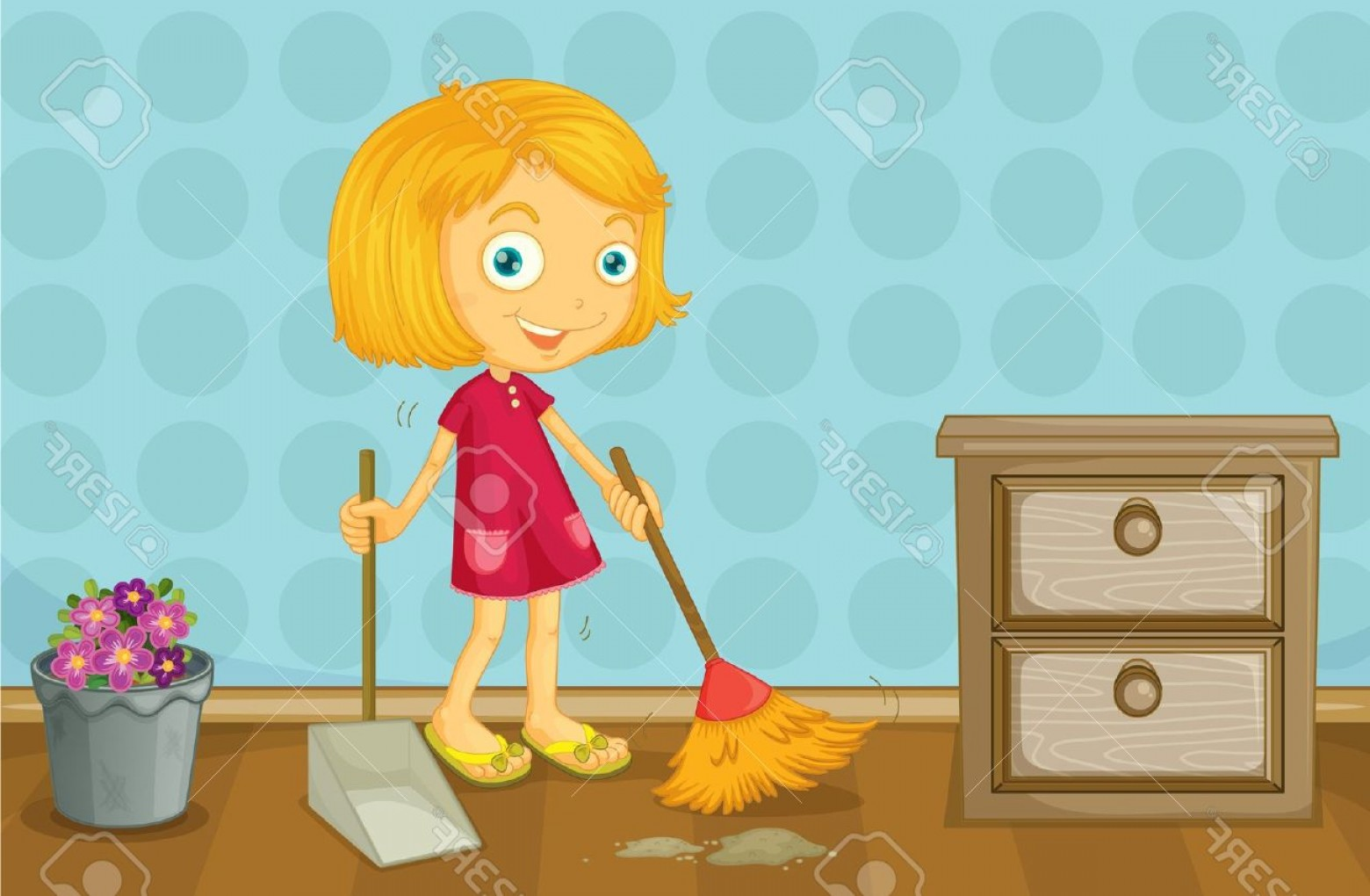 Girl Cleaning Room Clipart.