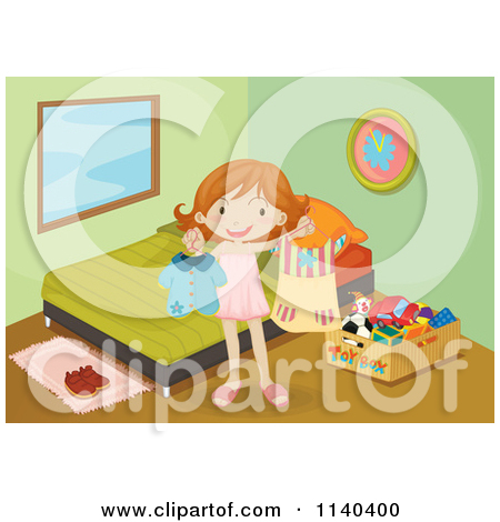 Girl Cleaning Her Room Clipart.