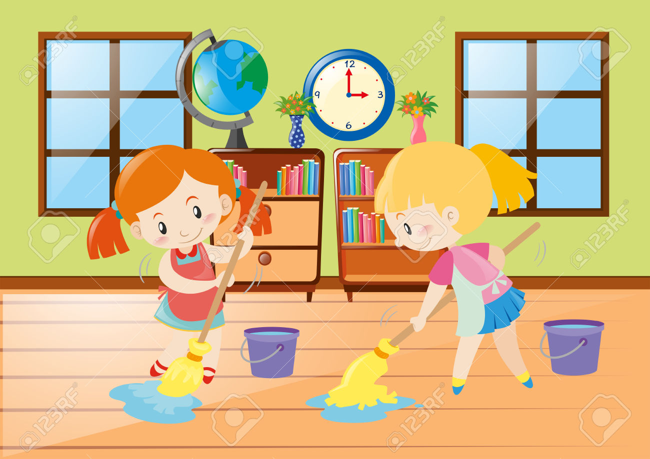 Two Girls Cleaning Room Illustration Royalty Free Cliparts.