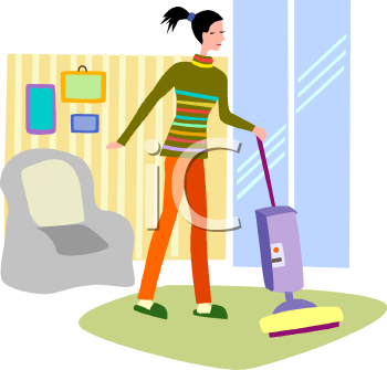 Girl Cleaning Room Room Clipart.