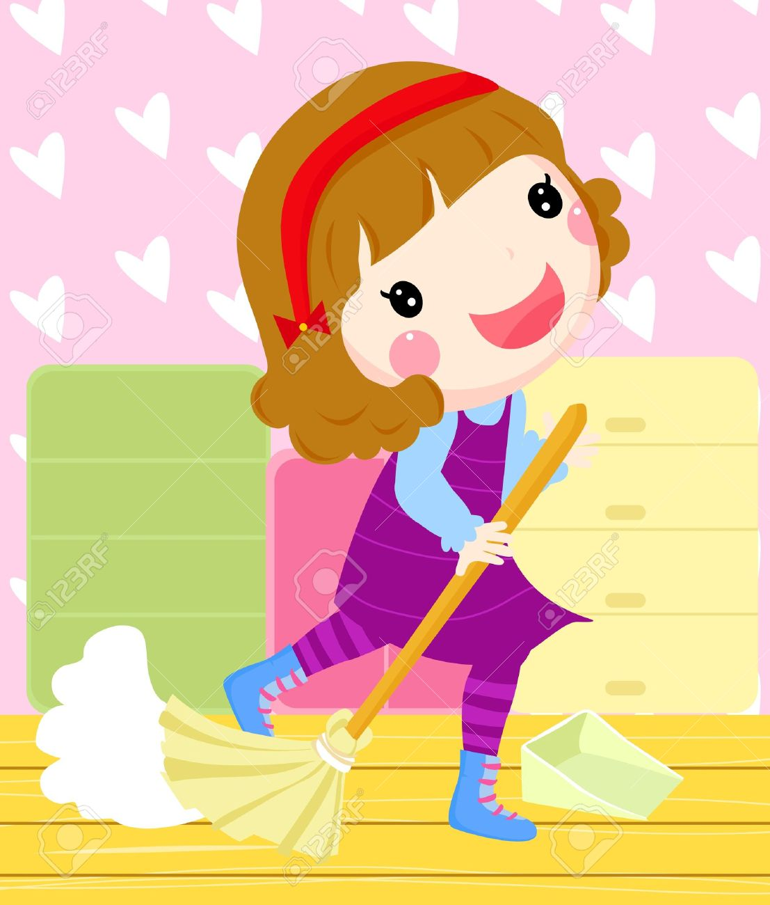 Showing post & media for Cartoon girl cleaning room.