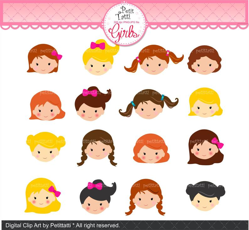 ON SALE Girl Face Clip Art _ Cute Girl Faces Clip Art. Girls Head Clipart ,  Girl Head Clip art, Girl Clip Art, Nursery Decor DIY, Charactor.