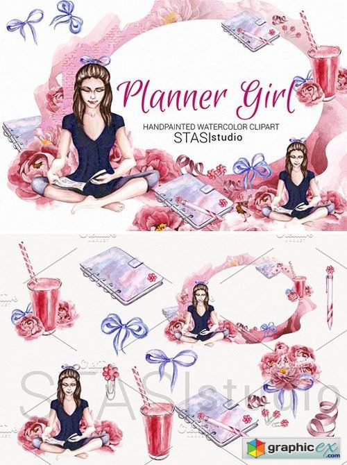 Planner Girl Watercolor Clipart » Free Download Vector Stock.