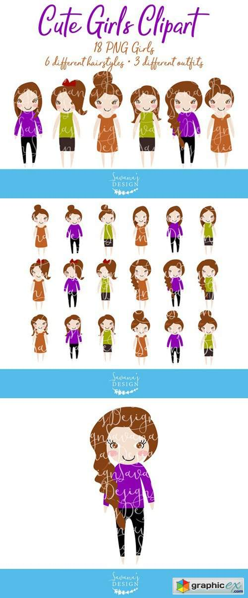 Brunette Hair Girls Clipart in PNG » Free Download Vector.