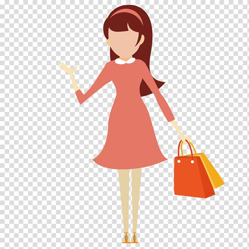 Shopping Icon, Shopping girl transparent background PNG.