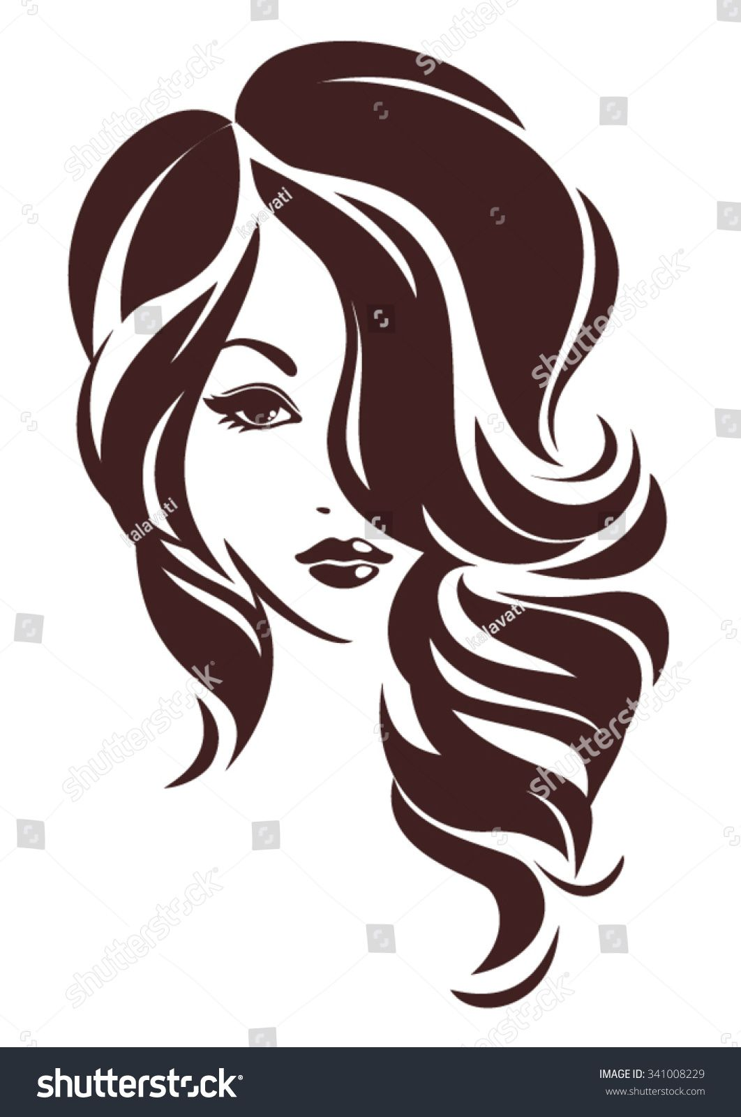 Girl with hair loose, vector logo design in 2019.