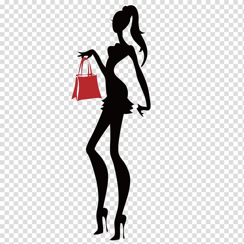 Silhouette of female, Fashion Logo Boutique Illustration.
