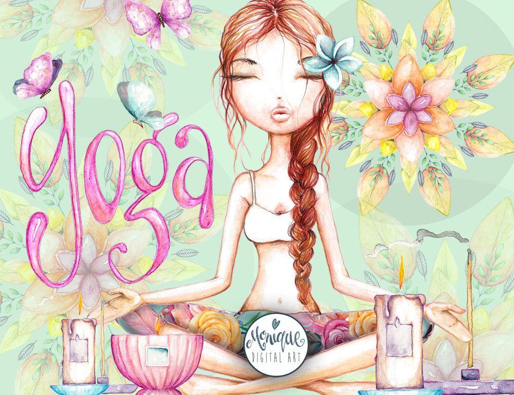 Yoga Girl Clipart, hand painted watercolor, logo, printable.