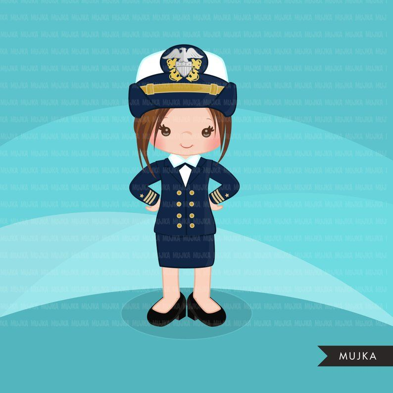 Female Navy Officer Clipart. Little girl Graphics, Sailing.