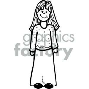 outline of girl vector art clipart. Royalty.
