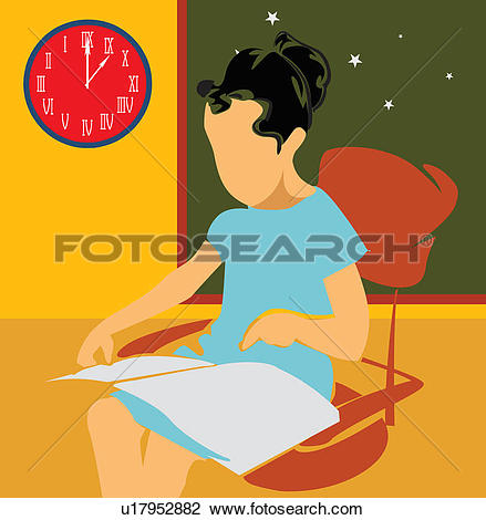 Clip Art of Side view of a girl studying while sitting on chair.