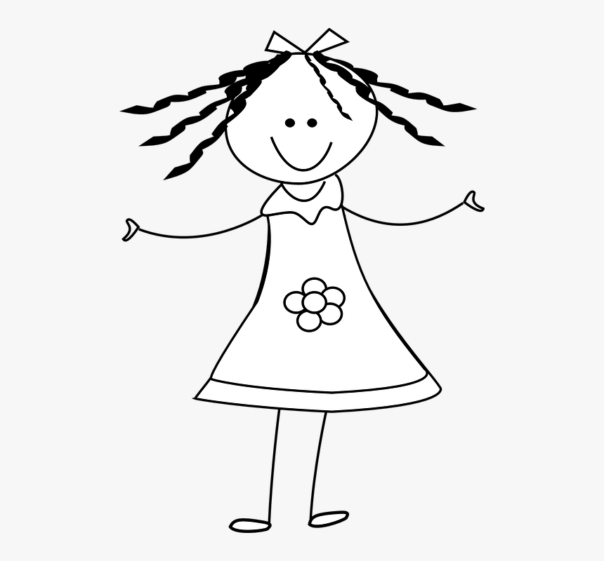 Girl, Happy, Dress, Stickman, Stick Figure.