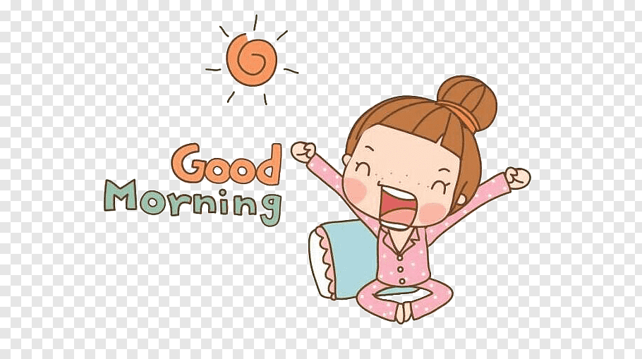 Girl waking up with good morning text overlay illustration.
