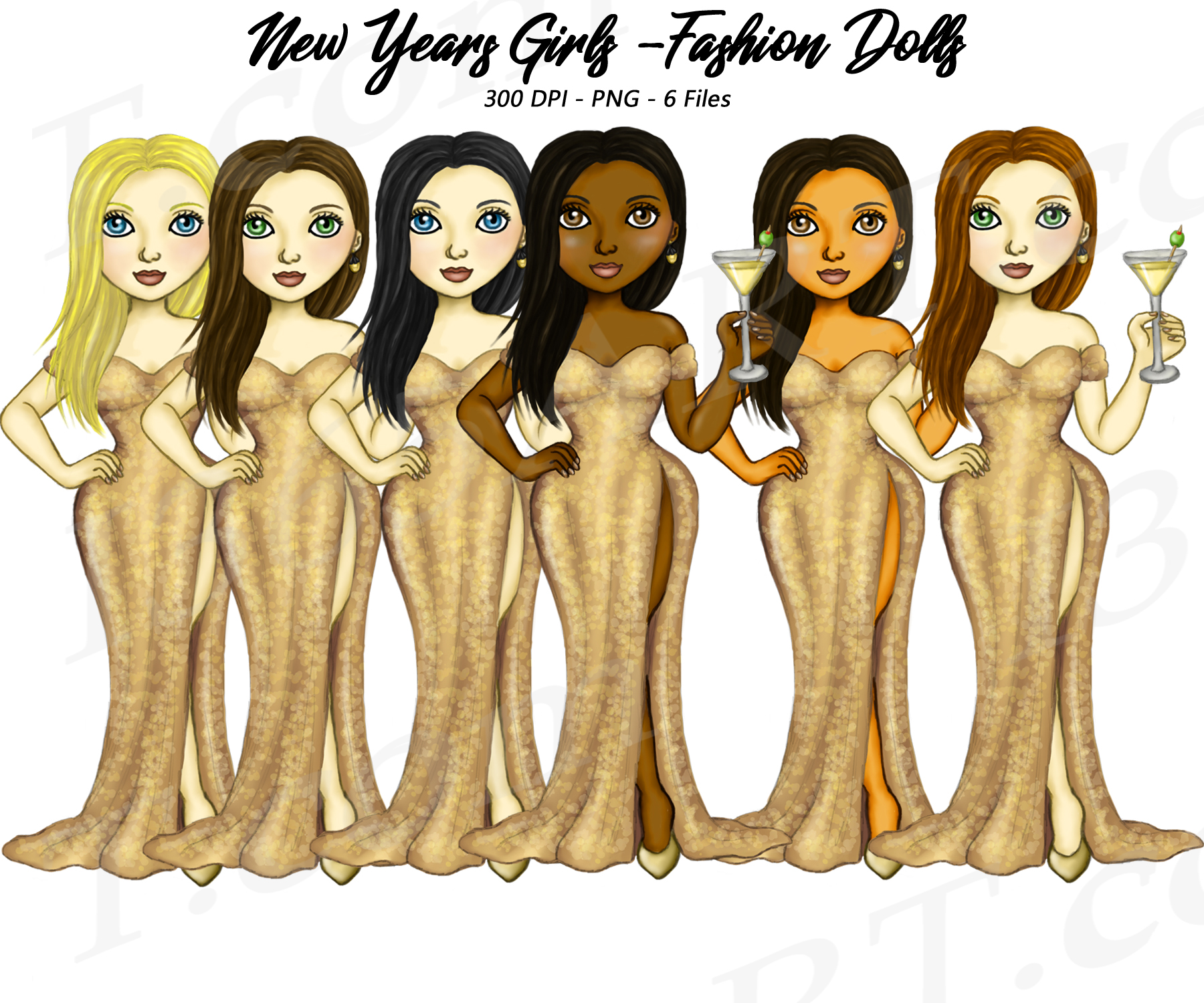 New Years Eve Girls Clipart Planner Fashion Dolls PNG.