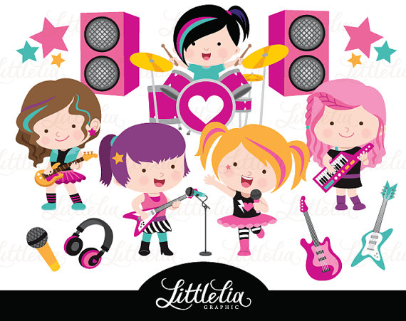 Rock star girls clipart.