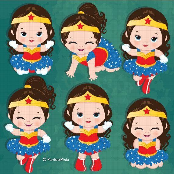 Wonder woman baby girl clipart , Superhero baby girl clipart.