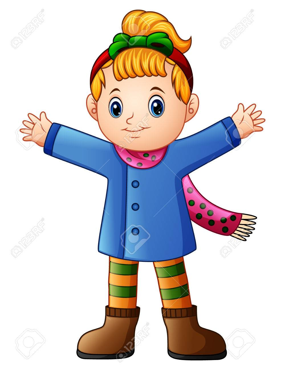Vector illustration of Cute girl wearing winter clothes waving.