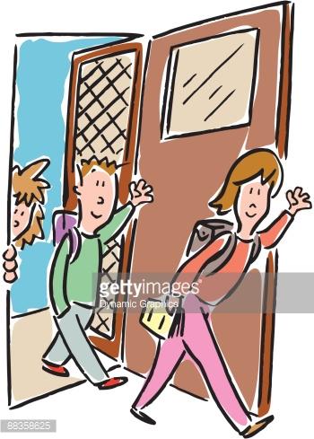 Children Coming Home From School Color Vector Art.