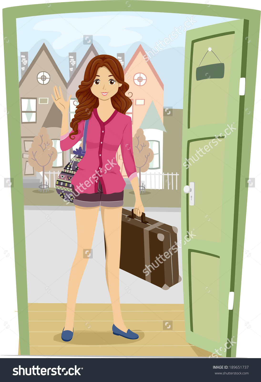 Girl Coming Home From School Clipart.