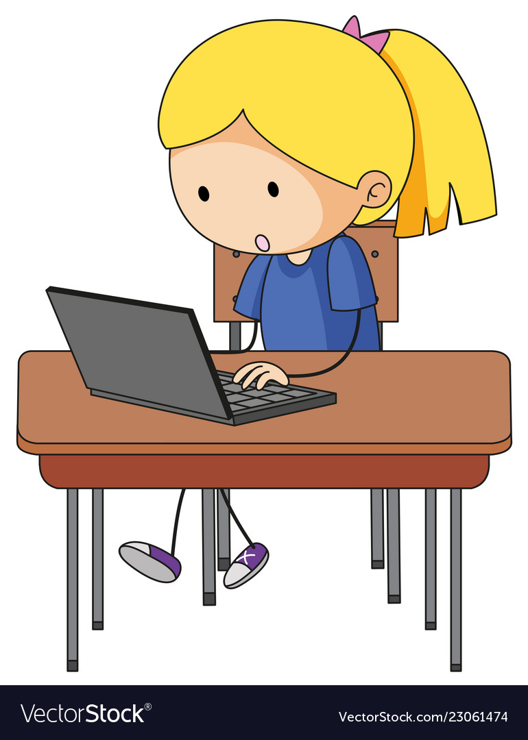 Doodle girl playing computer.