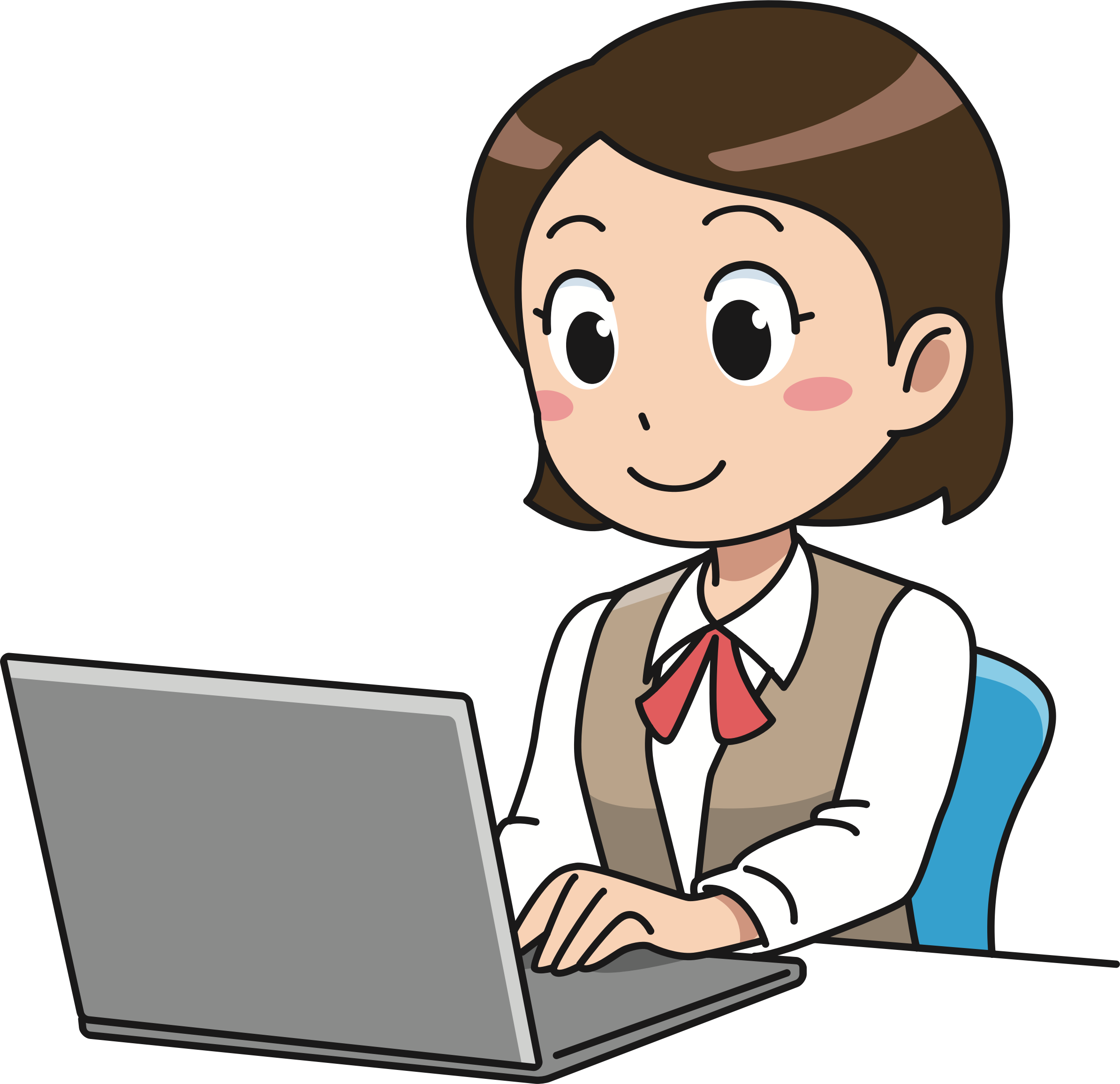 Girl On A Computer Clipart.