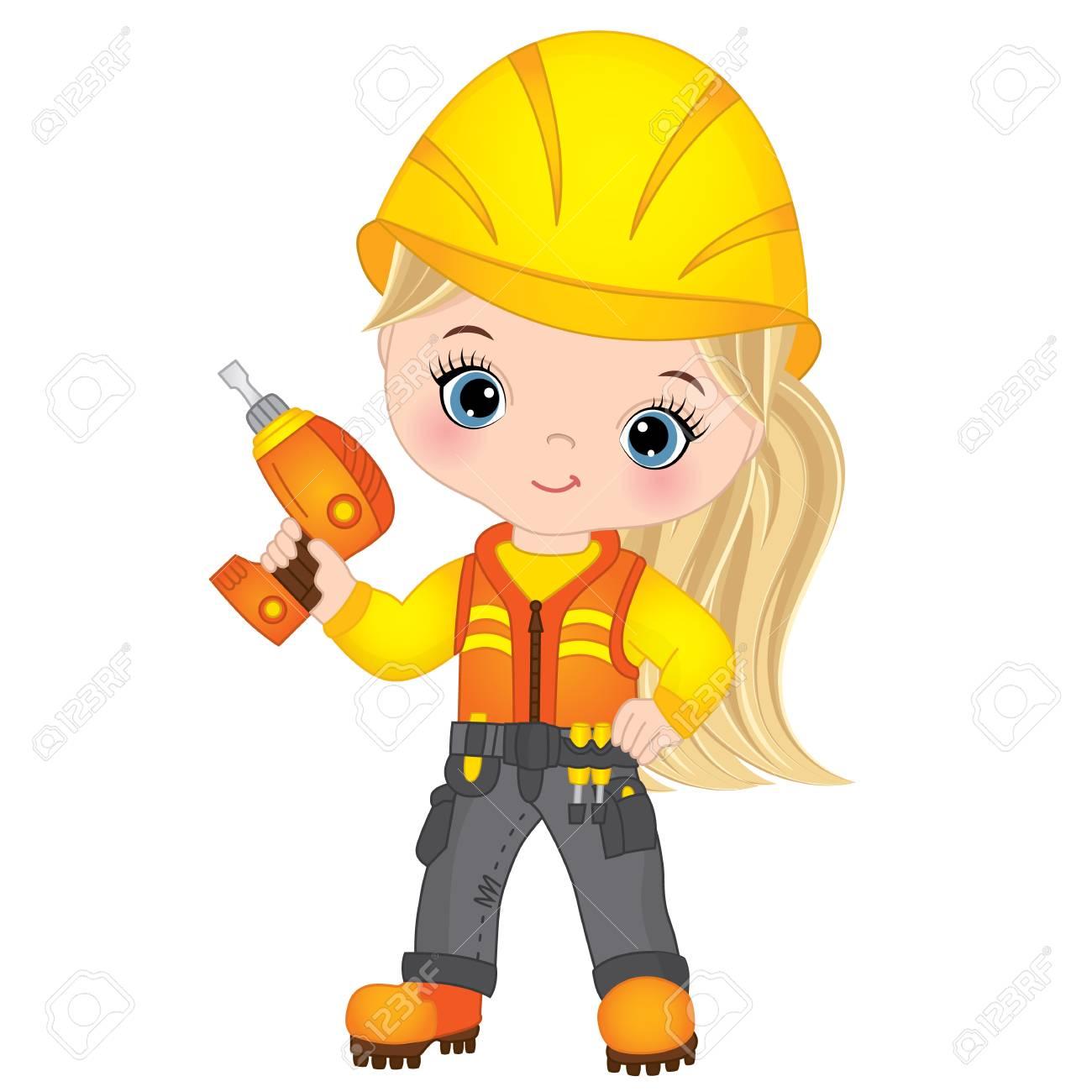 Vector cute little girl drilling. Vector construction. Little...